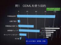 1)ODMLを使う目的については不明商品を調べるというお答えが最大となりました。7年前(グレー)に較べると企画した調べが減っていますが、これはルートセールスなど最前線でODMLを利用する方の比率が上がったからではないかと想像しています。